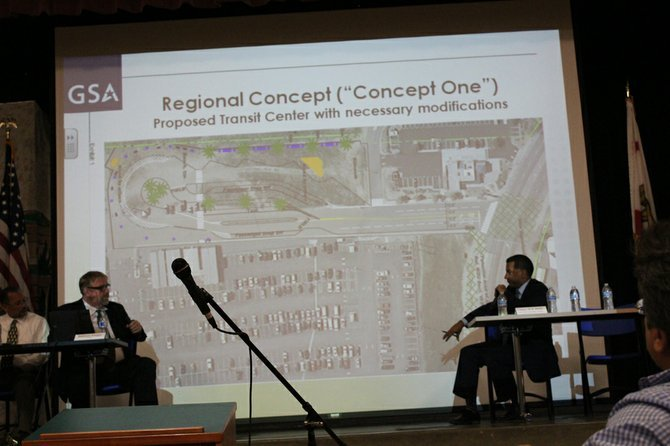 GSA's Anthony Kleppe (left) and San Ysidro Chamber of Commerce Jason Wells (right) discuss Virginia Avenue Pedestrian Crossing