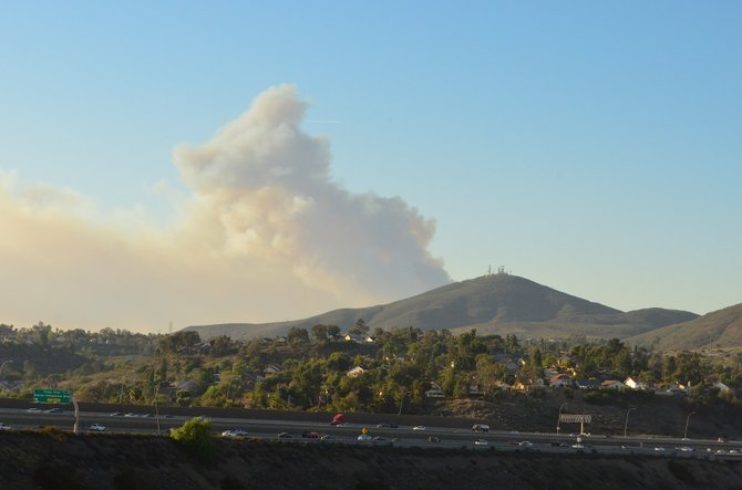 Cocos (San Marcos) Fire behind Black Mountain, shot from Rancho Penasquitos, May 14th, 2014.