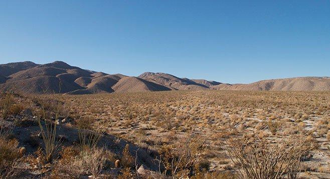 The crossing of Mescal Bajada en route to Bighorn Canyon
