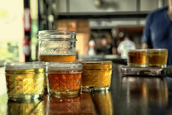 Local beers in summer-appropriate mason jars at BNS Brewing & Distilling Co. in Santee.