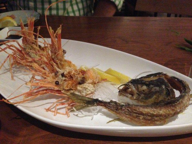 Deep fried shrimp head and mackerel bones at Blue Ocean Robata and Sushi Bar