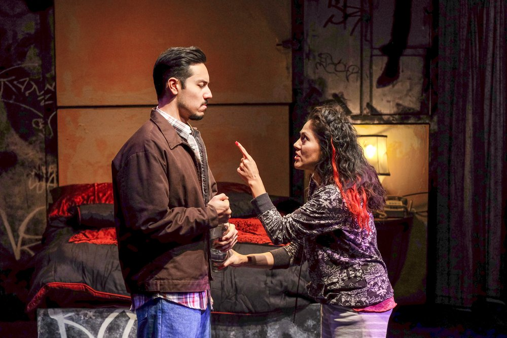 Steven Lone, Sandra Ruiz  in The Motherf**ker With the Hat at Cygnet Theatre.