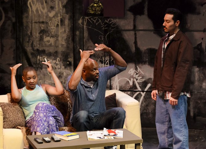 Whitney Brianna Thomas, Laurence Brown, Steven Lone in The Motherf**ker With the Hat at Cygnet Theatre - Image by Ken Jacques
