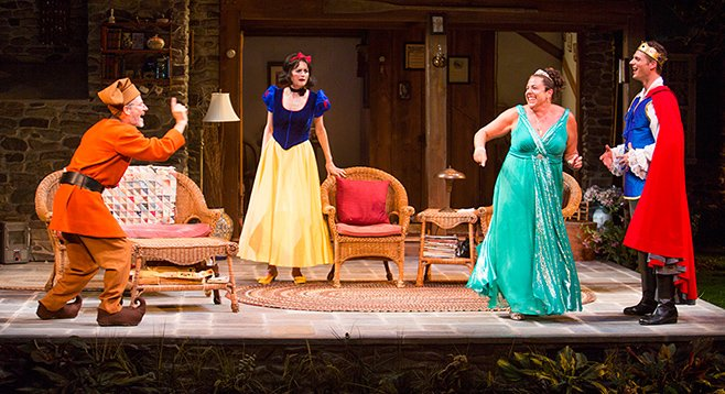 Martin Moran as Vanya, Candy Buckley as Masha, Marcia DeBonis as Sonia, and Tyler Lansing Weaks as Spike in the San Diego Premiere of Christopher Durang's Vanya and Sonia and Masha and Spike