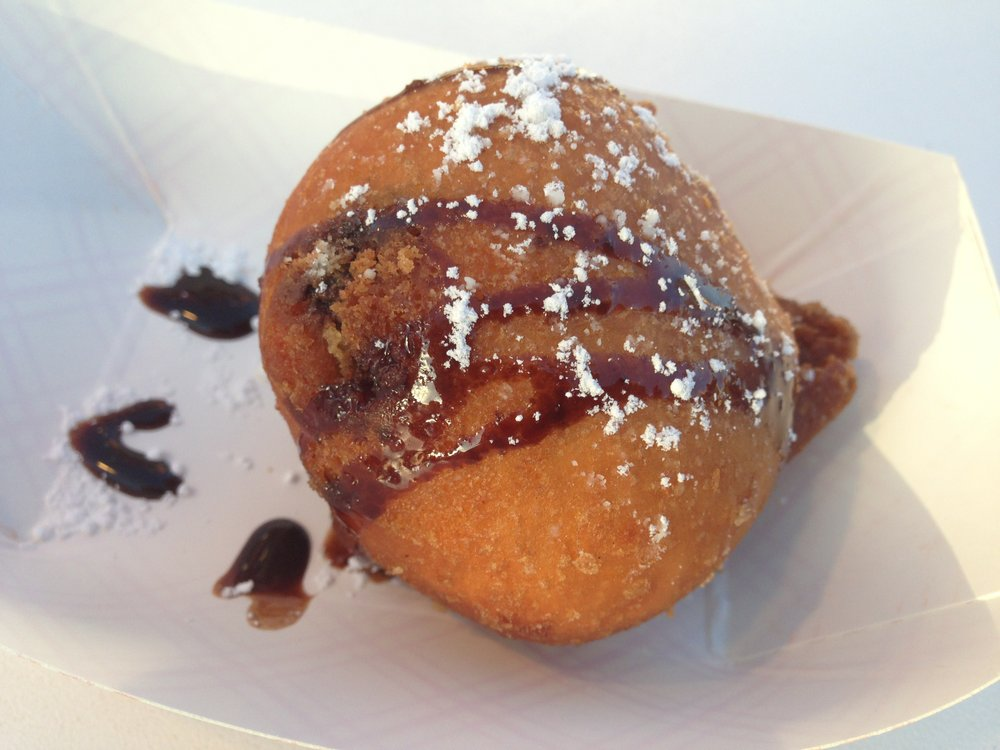 Deep-fried chocolate chip cookie dough sold at Chicken Charlie's at San Diego County Fair
