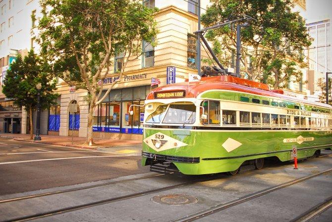 San Diego Trolley on C Street, San Diego, Ca.