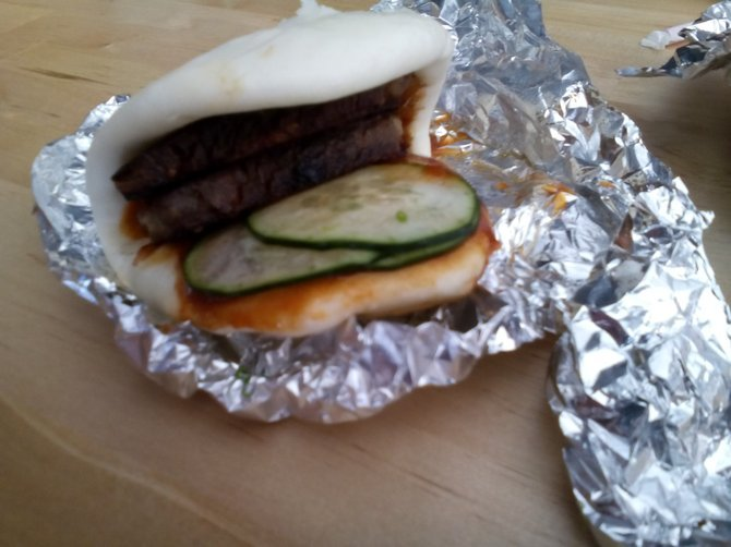 Chinese Peking bun with pork belly/green onions/hoisin.