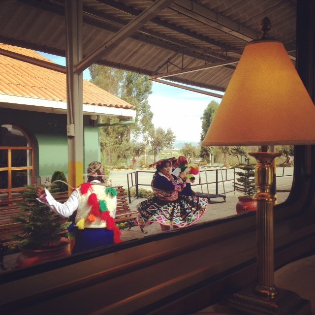 The Hiram Bingham train being seen off by traditional dancers.