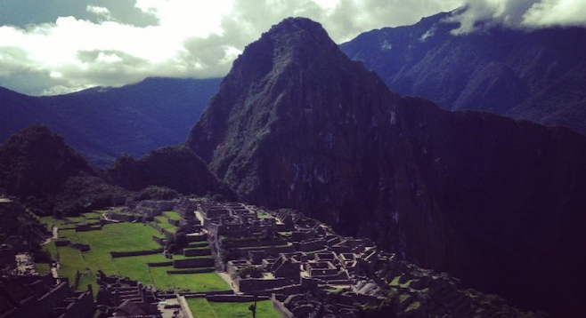 Iconic Macchu Picchu shot: the ancient city from the trail above.