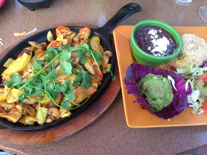 Vegetarian fajitas at Casa Sol y Mar