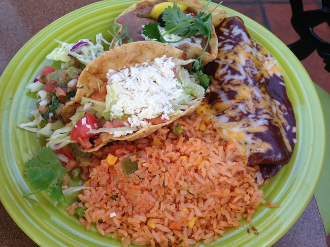 Chicken taco, cheese enchilada combo plate at Casa Sol y Mar
