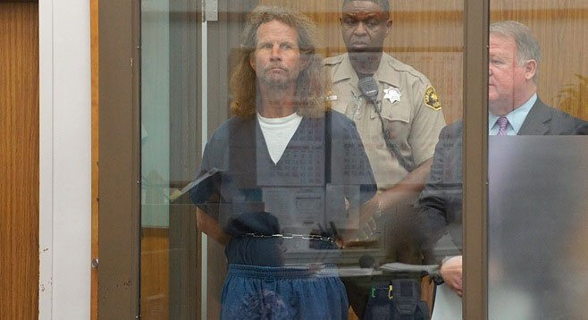 Transient Bruce Hunt stands accused of stabbing a cross-dresser to death in the middle of an Oceanside street.