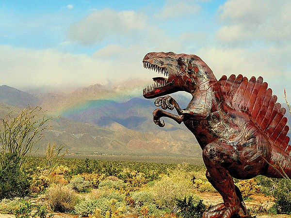 A mountain bike is needed to visit the Spinosaurus.