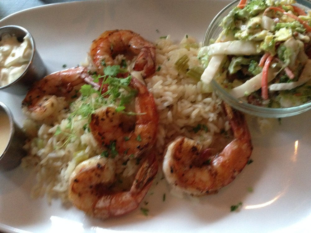 Grilled shrimp with rice and broccoli slaw at Spike Africa's.
