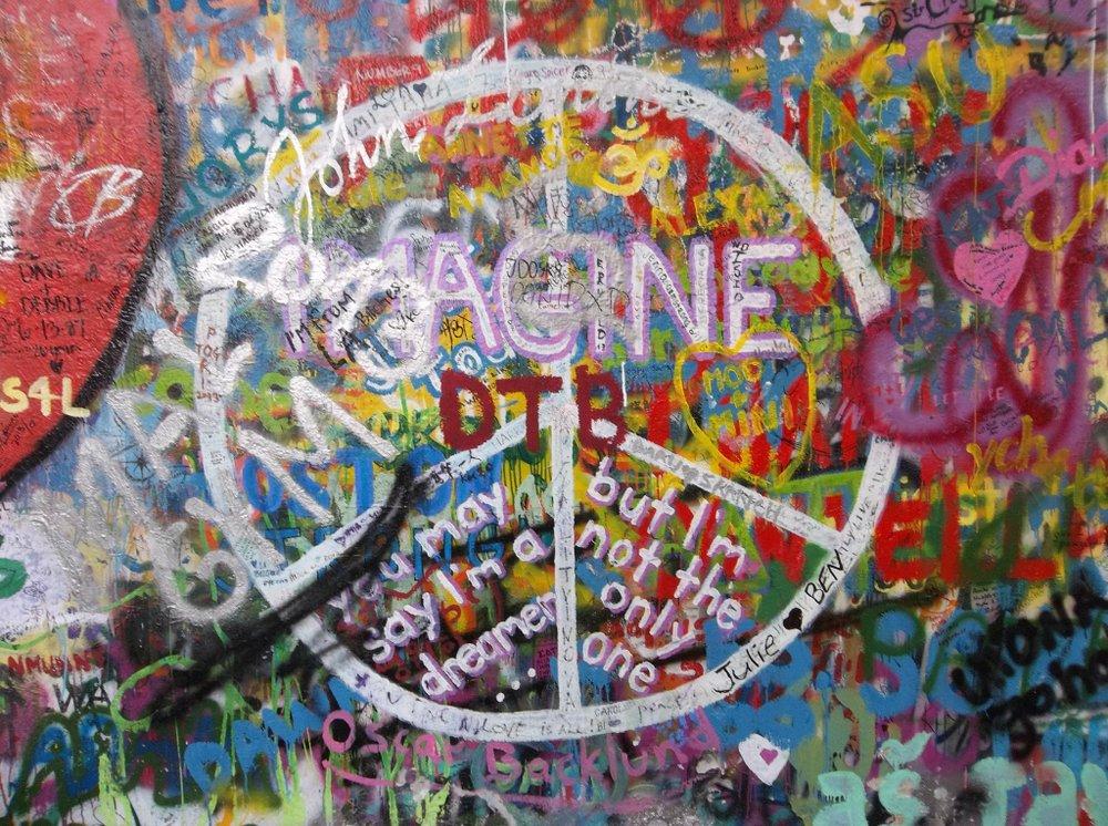 Up close at the John Lennon Wall.