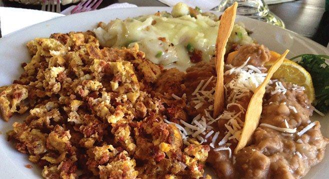 Ed's chorizo-and-eggs breakfast