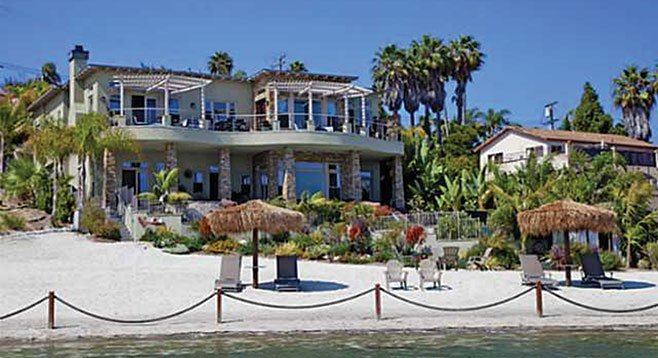 """If the home's """"beach"""" on Agua Hedionda Lagoon doesn't thrill, try the """"resort-style pool and spa."""""""