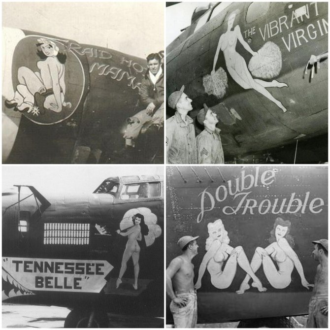 """Captain McWherter…admitted to knowledge of naked photos of women in the aircraft cockpits…"" (WWII cockpit exteriors)"