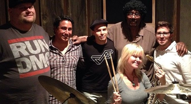 Abair and her session men. That's La Mesa drummer Najor, far left.