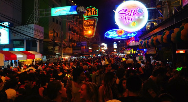 Bangkok's Khao San Road in full effect on New Year's Eve 2013.