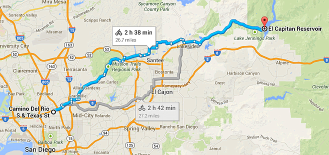26.7-mile route to El Capitan Reservoir.