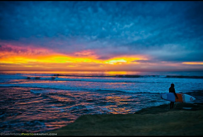 Sunset over the Pacific Ocean - Sunset Cliffs, Point Loma. © Sam Antonio Photography 2014. www.SamAntonio.com