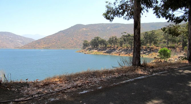 Destination in sight: El Monte Rd at El Capitan Reservoir.