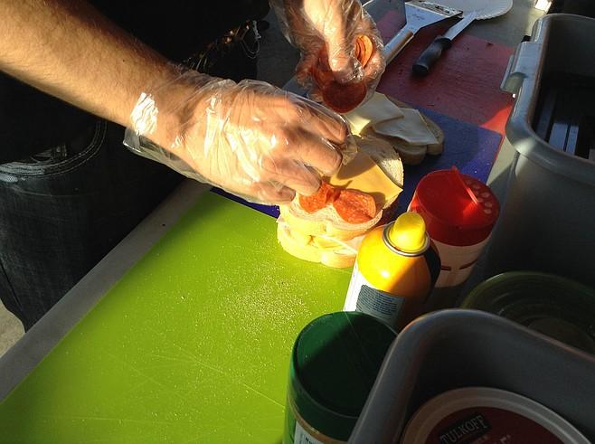 Mateo makes my sandwich