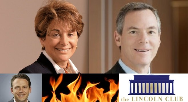 """After backing mayoral hopeful Nathan Fletcher (bottom) last year, Qualcomm (ex-CEO Paul Jacobs, right) put money into the """"leadership committee"""" of House Democrat Anna Eshoo (top left)"""