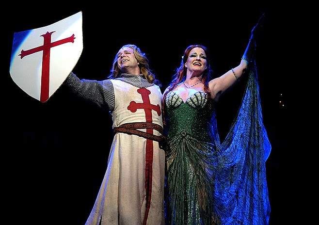 Danny Gurwin and Christine Hewitt in Spamalot at Moonlight Amphitheatre.