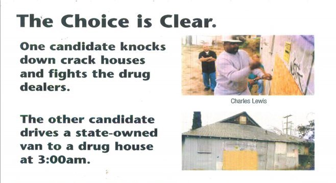 2002 flyer produced while Myrtle Cole was working on Charles Lewis's campaign against Dwayne Crenshaw