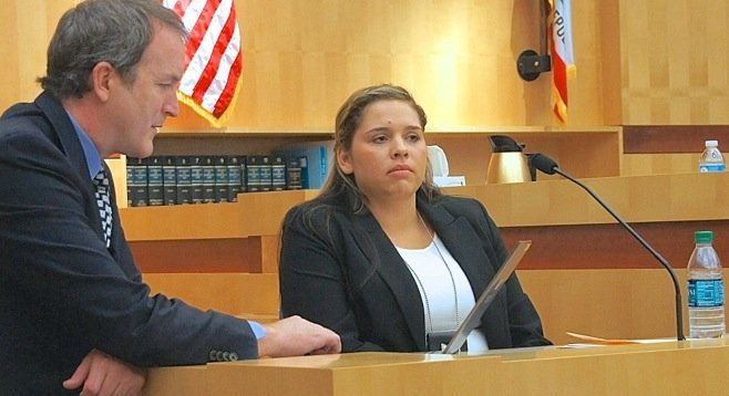 Deputy Michelle Storms being cross-examined by defense attorney Matthew Roberts