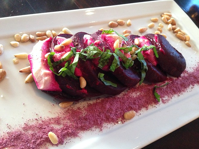 Roasted beet and goat cheese salad at the Red Door restaurant