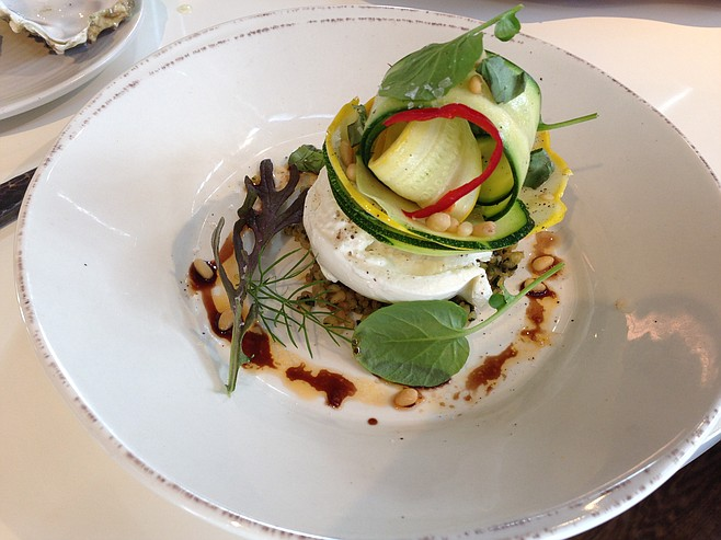 Summer squash salad with burrata cheese, pine nut crumble and chili at Juniper And Ivy