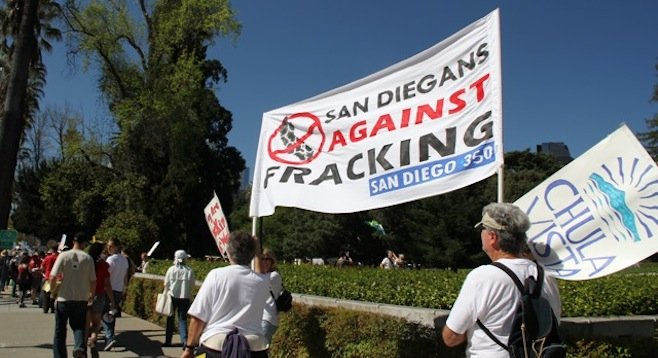 Members of SanDiego350 marched on Sacramento recently to protest the hydraulic fracturing method of natural-gas production; so far this year, reports CNN, Oklahoma has had more earthquakes than California.