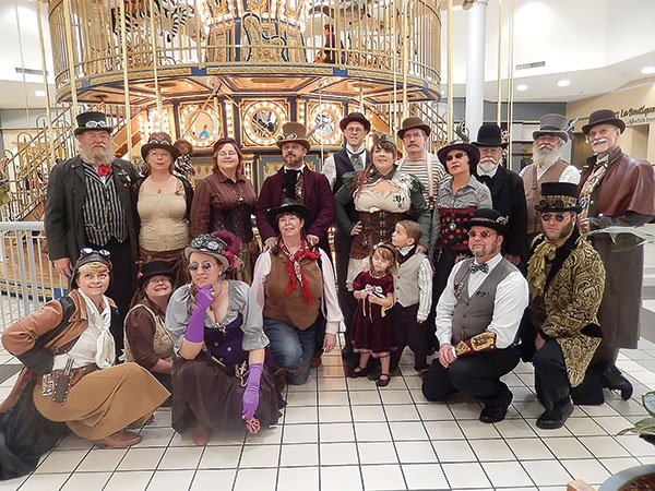 In February, a group of costumed steampunks intending to ride the carousel at the Carlsbad Westfield Mall were thrown out by management.