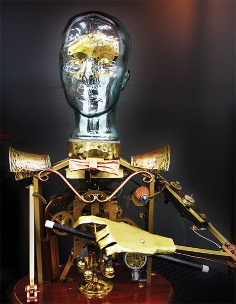 """Makers"" and their creations are part of the steampunk aesthetic. This hand-built mechanical man features moving arms and head."