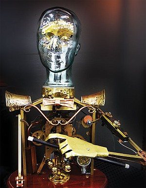 """""""Makers"""" and their creations are part of the steampunk aesthetic. This hand-built mechanical man features moving arms and head."""