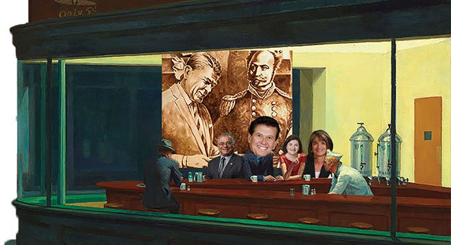 Politicians love free meals, especially at swanky private clubs. Just ask Rocky Chavez, Marty Block, Toni Atkins, and Diane Harkey.