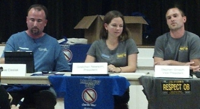 O.B. Town Council members Dave Cieslak, Gretchen Newsom, and Stephen Grosch