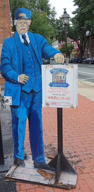 Pick-up place for Fredericksburg's Trolley Tour.