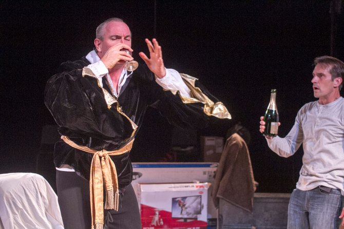 Ruff Yeager as John Barrymore and Francis Gercke as Andrew Rally in I Hate Hamlet at Intrepid.