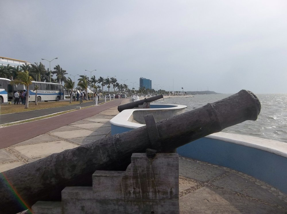 17th-century cannons on the town's malecón.