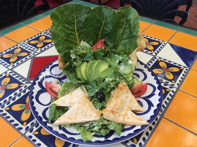 Casa Guadalajara in Old Town decorates its Caesar with avocado slices and quesadilla triangles.