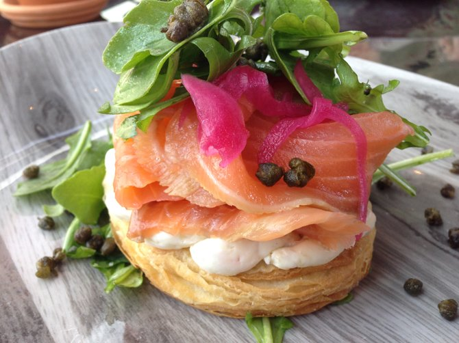 "Cured Lox Sandwich on ""croissant"""