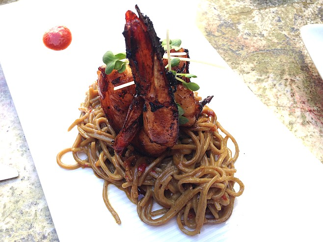 Flavorful grilled shrimp over miso soba noodles
