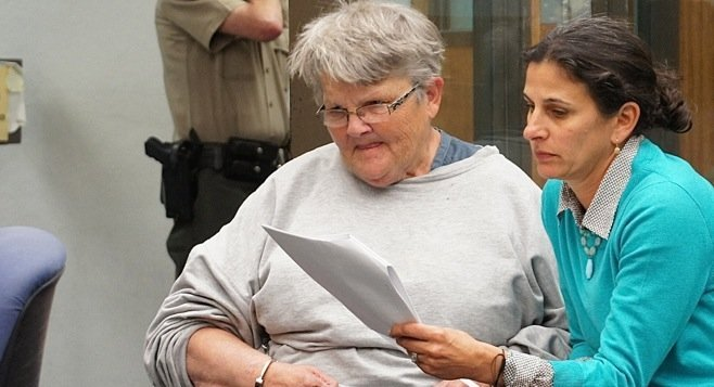 Cynthia Cdebaca (left) at her arraignment in February