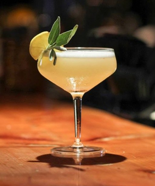 Tractor Room's Sage Germain: G Vine gin, St. Germain, bruised sage leaves, Vanilla extract, Meyer lemon juice, egg white. Shake, double strain, and serve up!