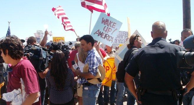 Demonstrators in Murietta on July 1