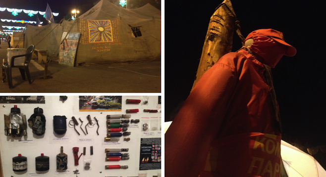 Clockwise from top left: Kiev protest tents in Maidan Nezalezhnosti, Kiev's central square; an effigy from the protest area; inside a tent displaying weapons the protestors used against the government.